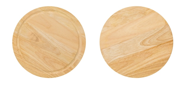 흰색 배경에 격리된 피자를 위한 둥근 나무 커팅 보드의 양면. 식품 프로젝트를 위한 모형.