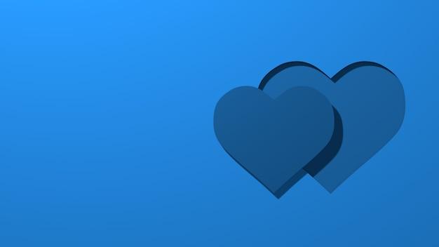 Два силуэта стилизованные сердца вырезать из бумаги. концепция любви, день святого валентина. стильная минимальная абстрактная горизонтальная сцена, место для текста. модный классический синий цвет. 3d рендеринг