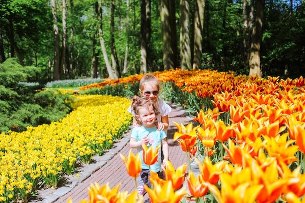 チューリップ畑に多色のチューリップで楽しんでいる2人の姉妹の女の子。オランダのチューリップの花畑の子。チューリップ畑キューケンホフと魔法のオランダの風景の中の子供。旅行と春のコンセプト