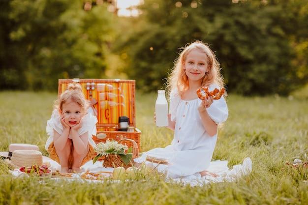 芝生の上に座ってピクニックをしている2人の姉妹。焦点は年上の女の子にあります。夏時間。