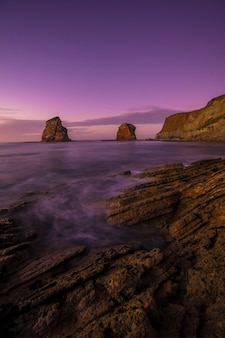 Two sisters of hendaye with the purple sky in vertical photography. france