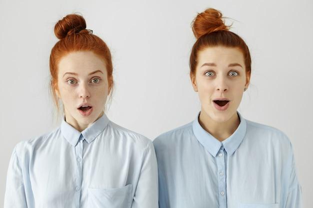 똑같은 파란 셔츠와 같은 헤어 스타일로 똑같이 보이는 두 자매 또는 친구, 불신을보고, 뉴스, 험담 또는 소문에 놀라거나 놀랐습니다.