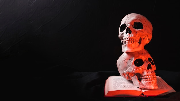 Two skulls on book in red light