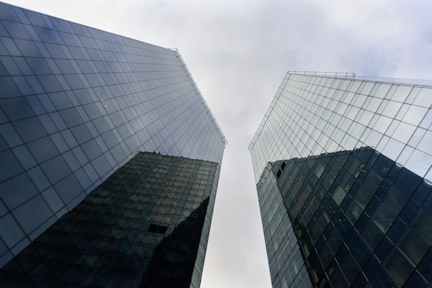 Two skyscrapers from below