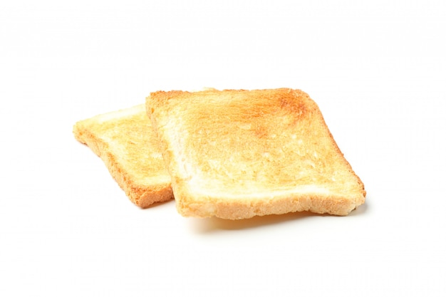 Two slices of bread toasts isolated on white background