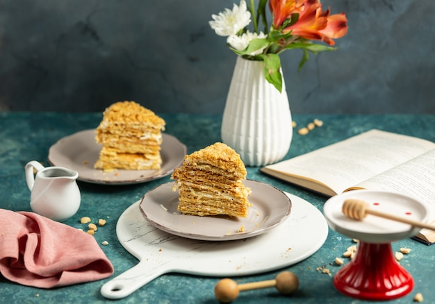 Two slices of russian honey cake plate