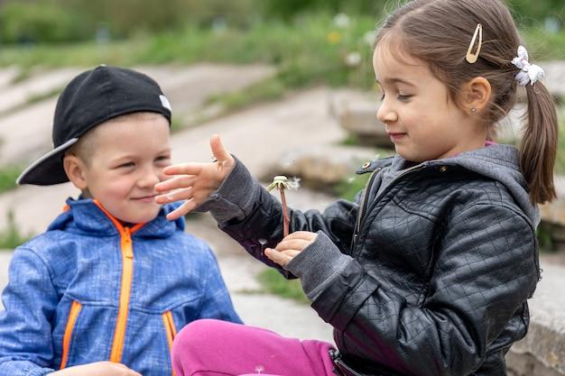 Due bambini piccoli stanno giocando con i denti di leone durante una passeggiata