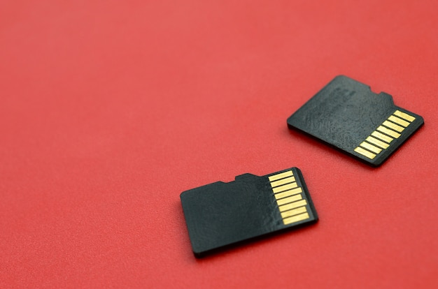 Two small micro sd memory cards lie on a red background