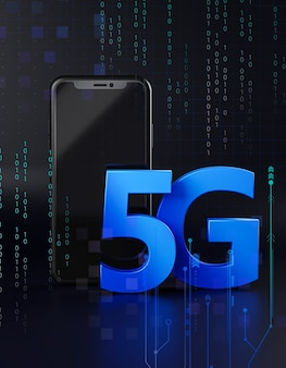 Two smartphone 5g icon hologram. technology concept 3d rendering