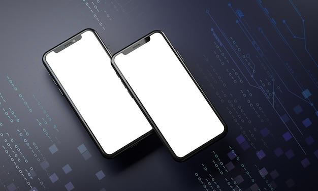空白の画面と2つのスマートフォン。テクノロジーコンセプト3dレンダリング