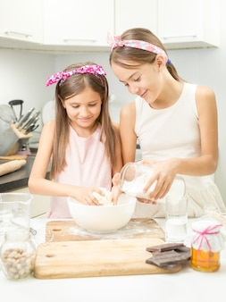 Two smiling girl making dough in white bowl on kitchen