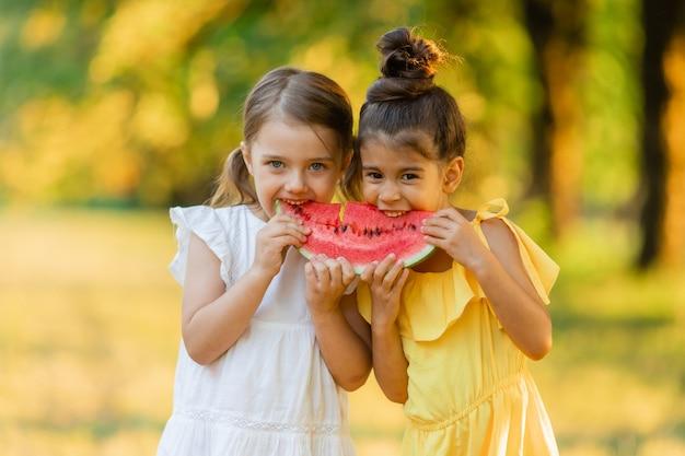 2人の笑顔の女の子が手にスイカのスライスを持っています子供たちは屋外で果物を食べる