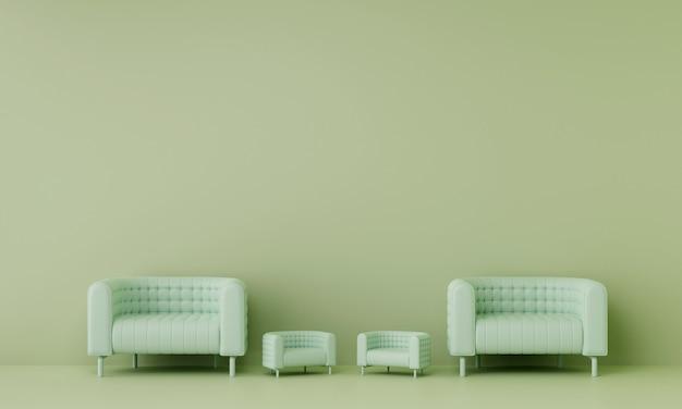 リビングルームに2つの小さなソファが置かれた2つのソファには、緑の壁があります。 3dレンダリング。