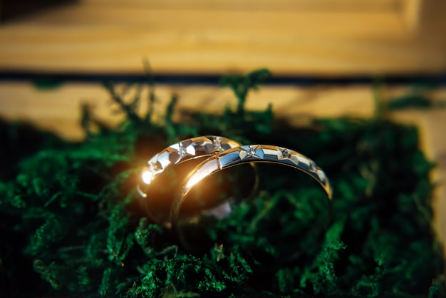 Two sparkling wedding rings close up. gold wedding rings on a blurred green background with copy space.