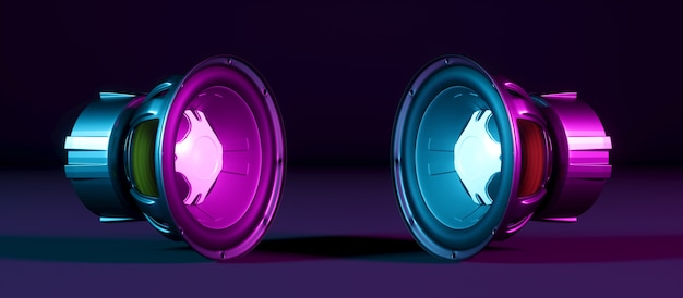 Two speakers lying side by side in neon light, 3d illustration