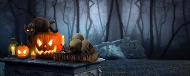 Two spooky halloween pumpkins jack o lantern table with a misty gray coastal night background