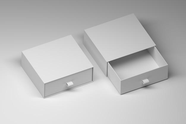 Две квадратные белые коробки шаблоны-макеты с пустыми поверхностями на белом