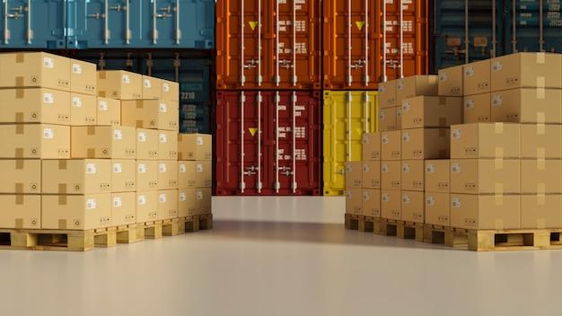 コンテナ3dレンダリング3dイラストと保管倉庫のパレット上の段ボール箱の2つのスタック