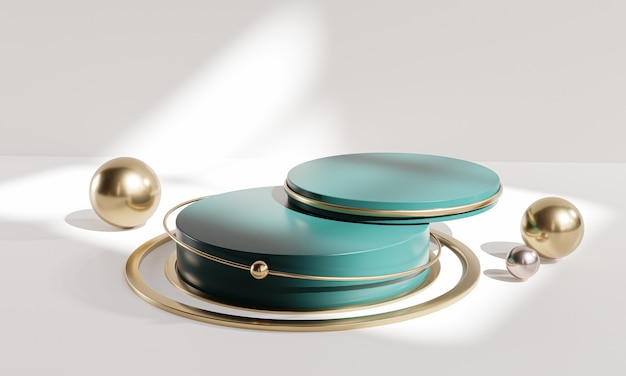 Two stack podium stage circle white green gold display product 3d rendering