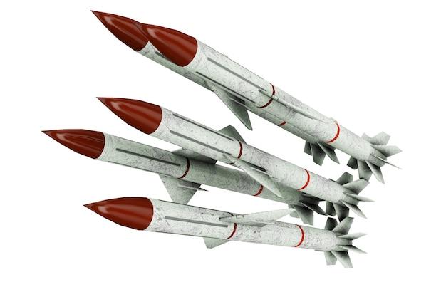 2段ミサイル、白い背景の3dイラストにフィンとロケット