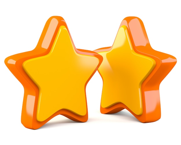 Two stars isolated on white background