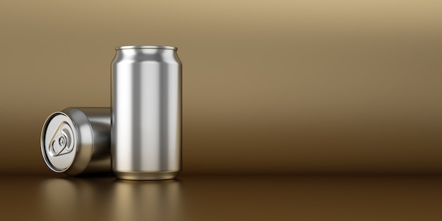 Two steel cans on golden