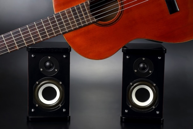Two stereo audio speakers, and classical acoustic guitar