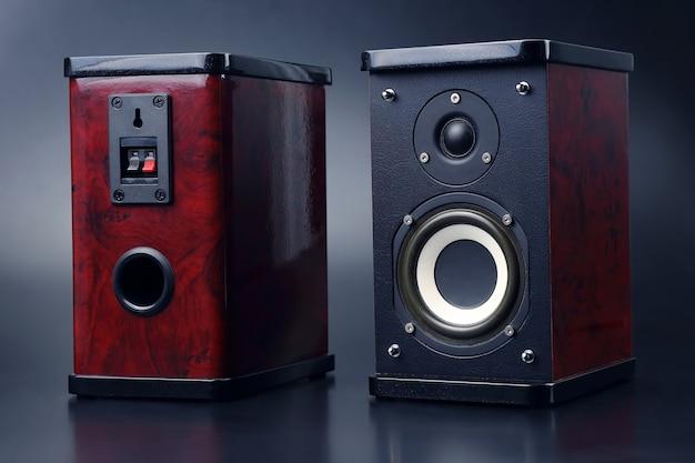 Two stereo audio speakers on dark