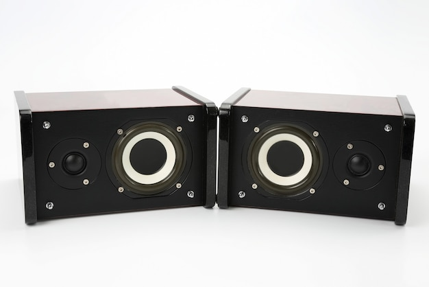 Two stereo audio speakers on white