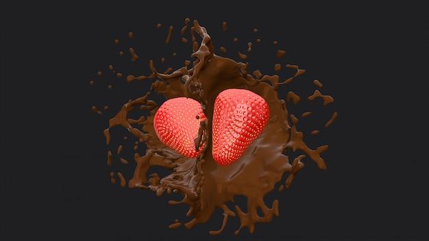 Two strawberries and chocolate splash, 3d rendering.