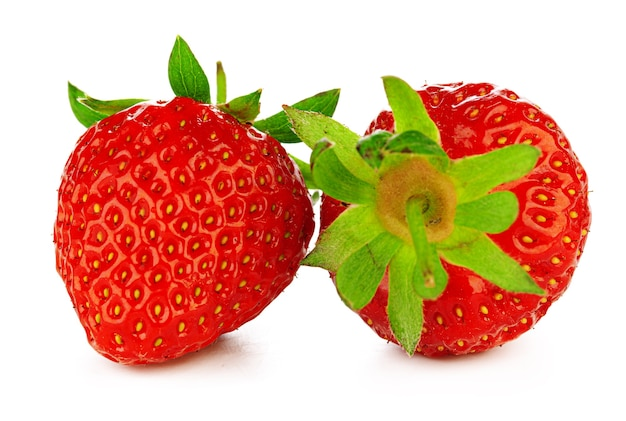 Two strawberries isolated on white background.