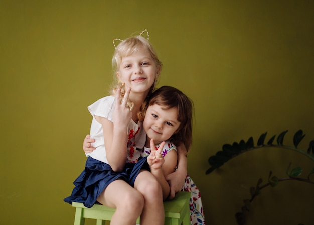 Two stylish pretty young little sisters posing at studio