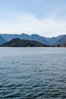 2마리의 백조가 이탈리아 코모 호수의 물 위를 헤엄치고 있다