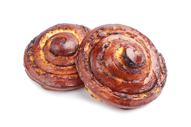 Two sweet buns on white background