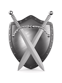 Two swords and shield on white.