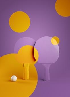 두 탁구 또는 탁구 라켓과 공 토너먼트 포스터 디자인 3d 일러스트 렌더링