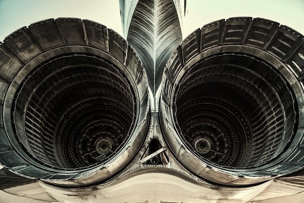Two tail engines of jet