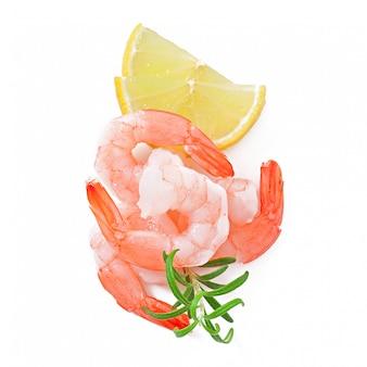 Due coda di gambero con limone e rosmarini freschi sul bianco