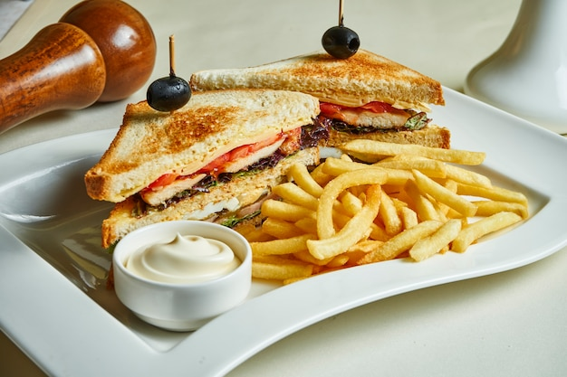 Two tasty and juicy sandwiches with chicken, cheese, tomatoes on a white plate with french fries and sauce.