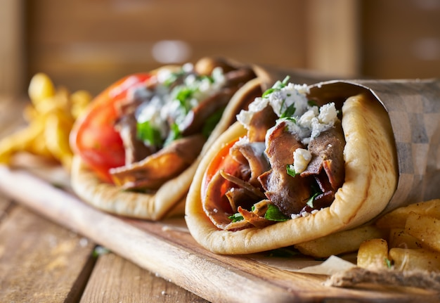 Two tasty wrapped greek lamb gyros
