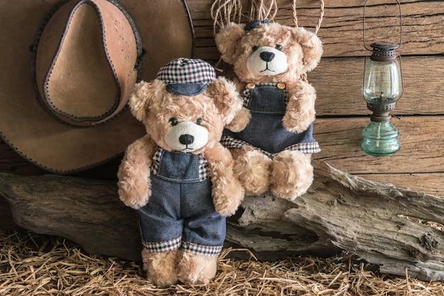 Two teddy bears in barn studio
