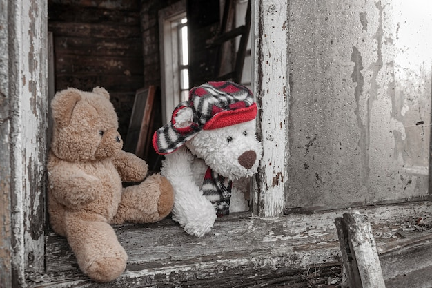 Two teddy bears look out of the broken window of an old house. concept of friendship and relationships.