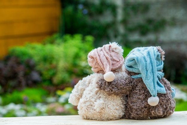 Two teddy bears sitting on the bench and hugging each other, rear view.