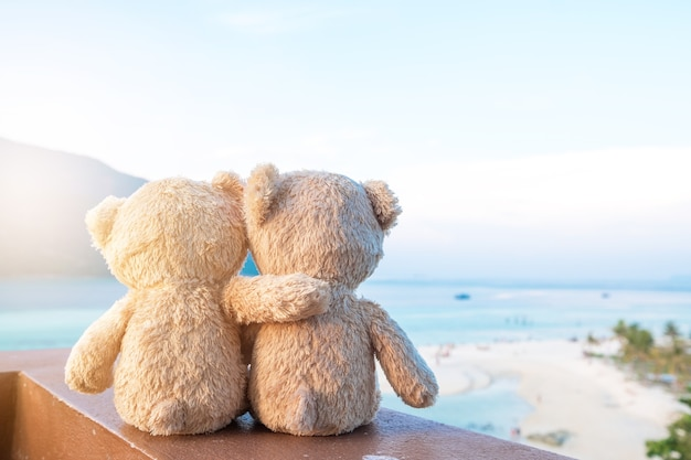 Two teddy bears sitting sea view. love and relationship concept. beautiful sandy beach