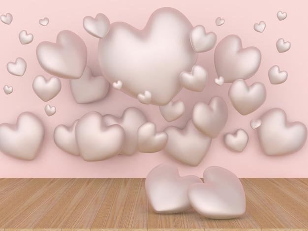 Два нежных сердца на деревянной поверхности среди других сердец