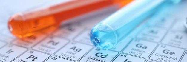 Две пробирки с цветными реагентами, лежащими на концепции химического образования крупным планом периодической таблицы