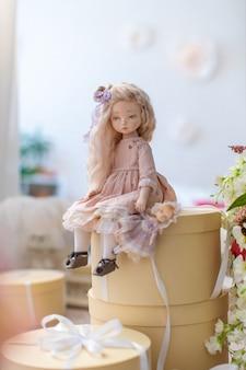 Two textile dolls, designer dolls.