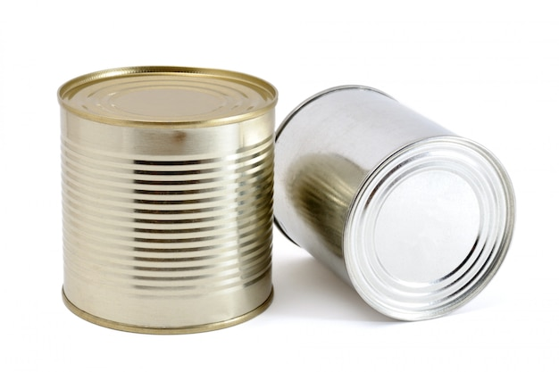 Two tin cans on white