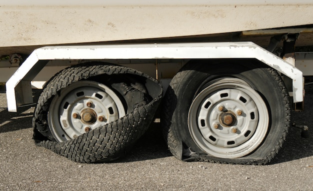Two tires totally destroyed on  trailer