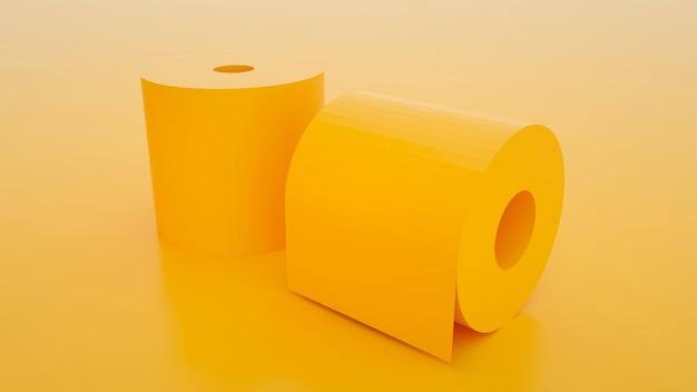 Два рулона туалетной бумаги, изолированные на фоне желтого цвета